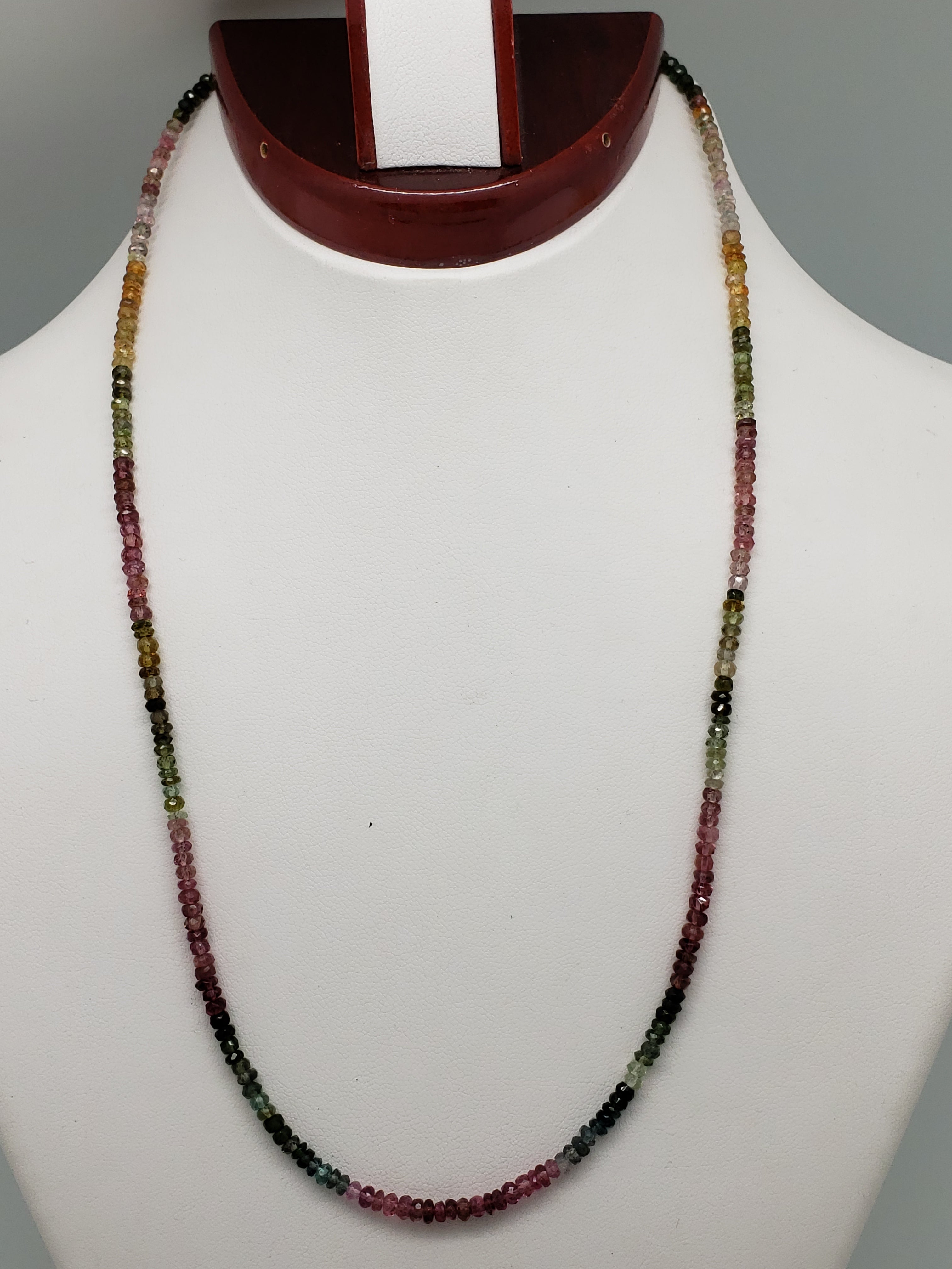 Shaded Watermelon Tourmaline Necklace, 18 inch with Sterling Silver Clasp & Chain