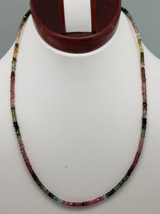 Shaded Watermelon Tourmaline Necklace, 16 inch with Sterling Silver Clasp & Chain