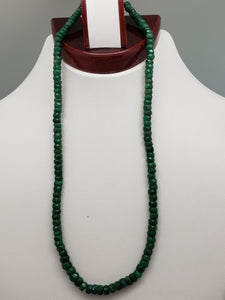 16 inch Emerald Faceted Rondelle Necklace with Gold Clasp, 5mm