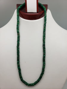 16 inch Emerald Faceted Rondelle Necklace with Gold Clasp, 4.75mm