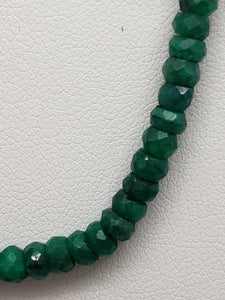 16 inch Emerald Faceted Rondelle Necklace with Gold Clasp, 4mm