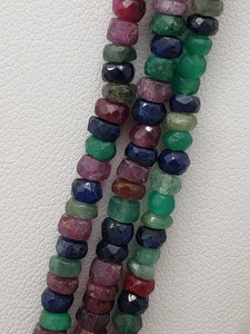 3 Strand Ruby, Emerald & Sapphire Mix Faceted Rondelle Necklace, 3.5 to 3.7mm