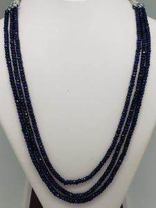 3 Strand Sapphire Faceted Rondelle Necklace, 4.25mm average