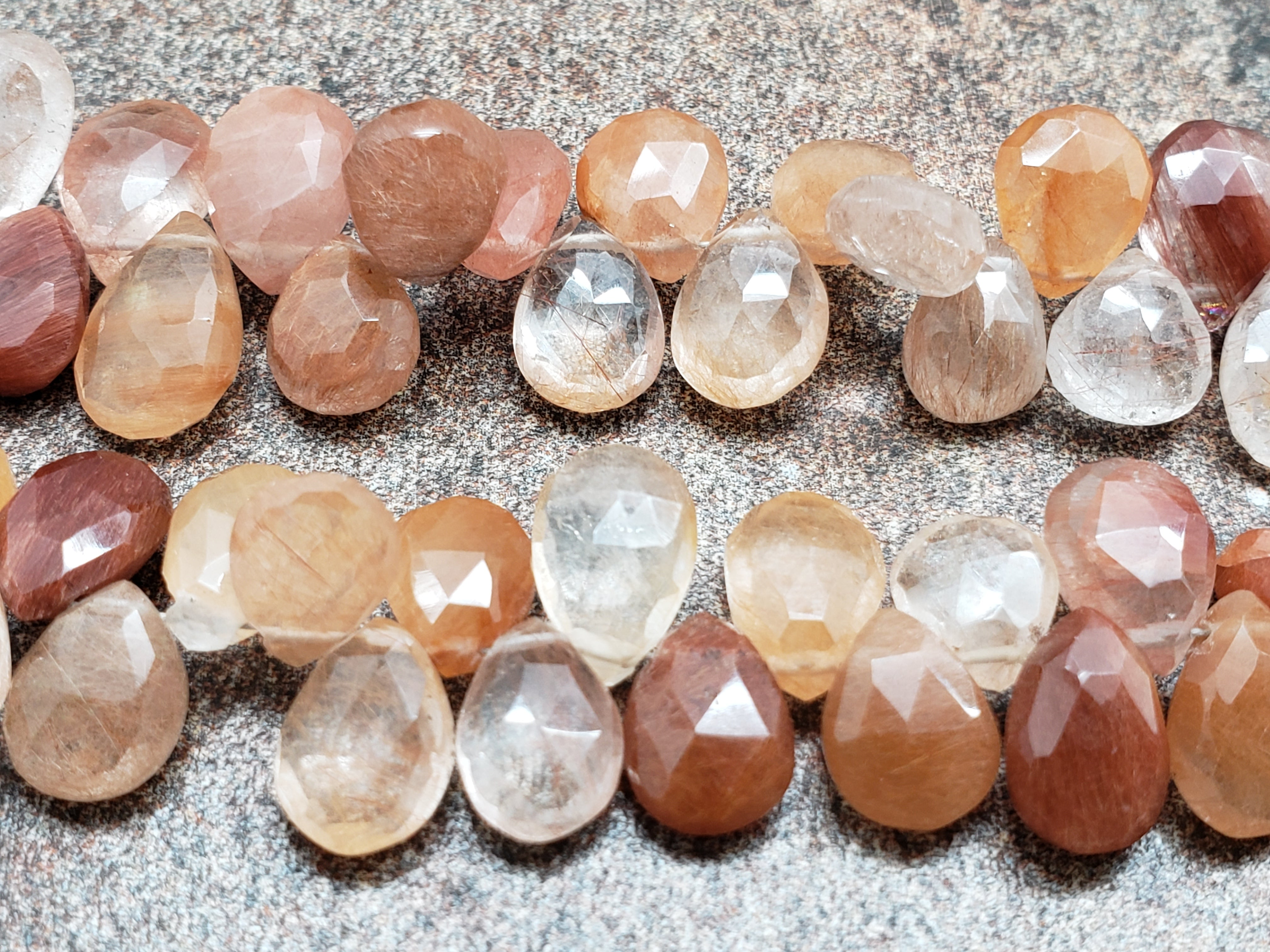 Coffee Quartz Shaded Faceted Pear Briolettes, 8 inch