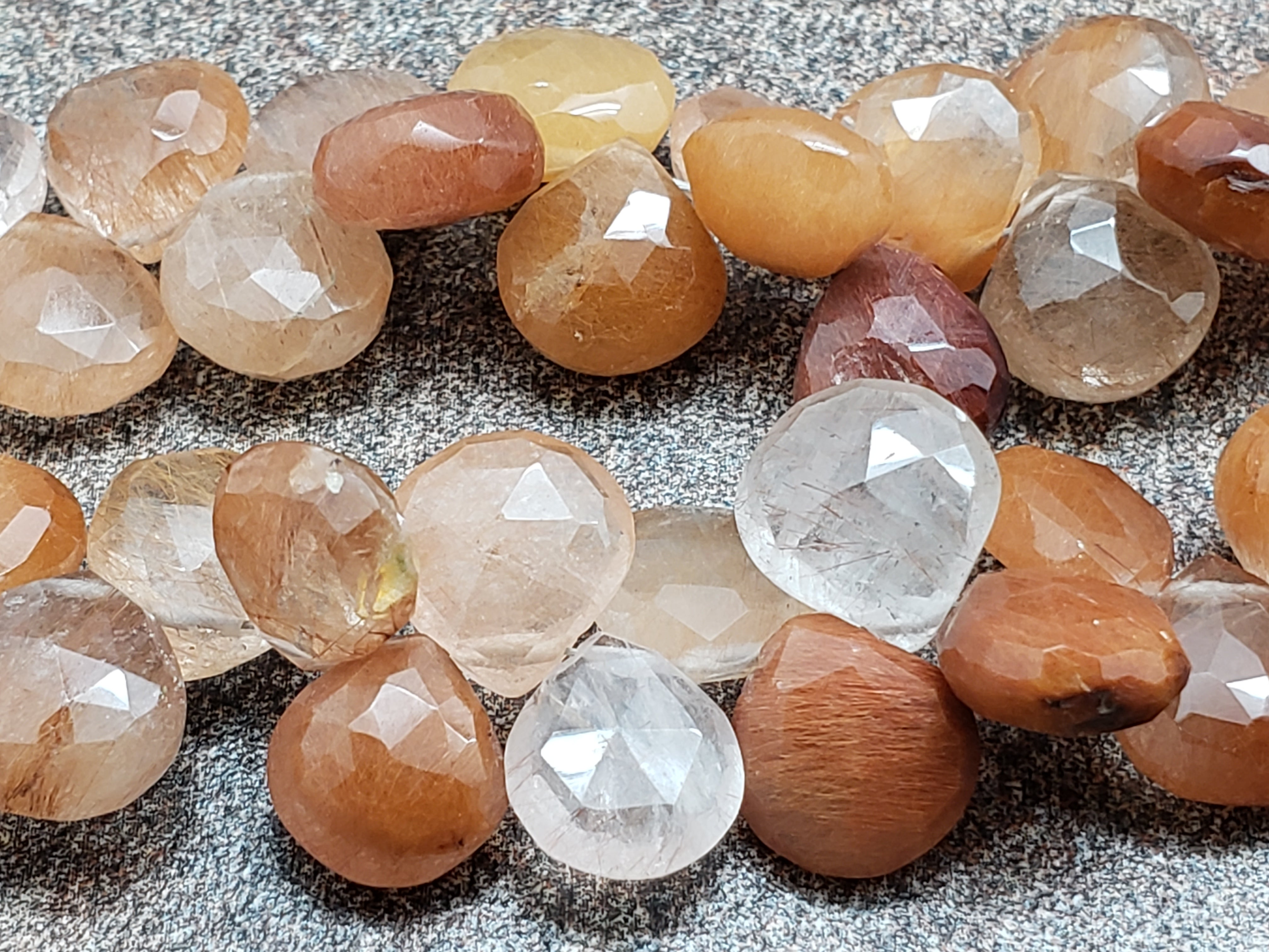 8.25mm Coffee Quartz Faceted Heart Briolettes, 8 inch