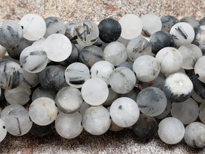6mm or 8mm Black Rutile Quartz Matte Round Beads, 15 inch