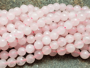 4mm or 6mm or 8mm Natural Rose Quartz Faceted Round Beads, 14.5 inch
