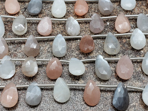 Mixed Moonstone Faceted Pear Briolettes, Strand of 10