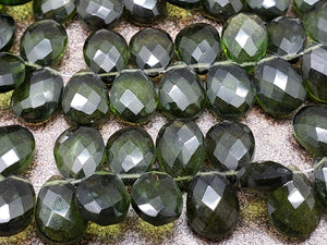 8mm by 11mm Olive Green Hydroquartz Faceted Pear Briolettes, 7 inch