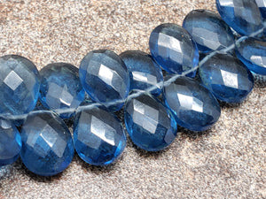 8mm by 11mm Sapphire Blue Hydroquartz Faceted Pear Briolettes, 7 inch