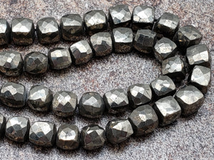 6.5mm Pyrite 3D Faceted Cubes, 13 inch