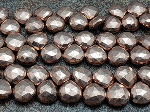 8.5mm Rose Gold Pyrite Faceted Heart Briolettes, Strand of 48