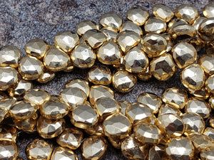 7.75mm Gold Pyrite Faceted Heart Briolettes, Strand of 50