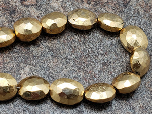 7.5 by 9.5mm Gold Pyrite Faceted Ovals, Strand of 25