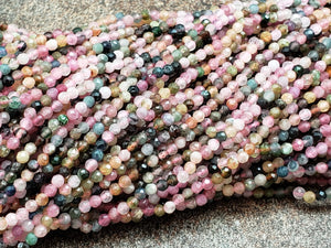 2mm or 3mm Watermelon Tourmaline Faceted Round Beads, 15 inch