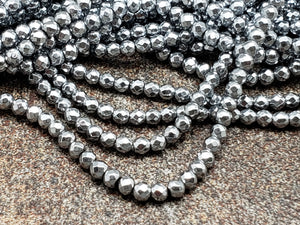 2mm or 3mm or 4mm Silver Hematite Faceted Round Beads, 15 inch