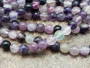 4mm or 6mm or 8mm or 10mm Purple Fluorite Polished Round Beads, 15.5 inch