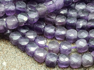 4.25mm Amethyst 3D Faceted Cubes, 15 inch