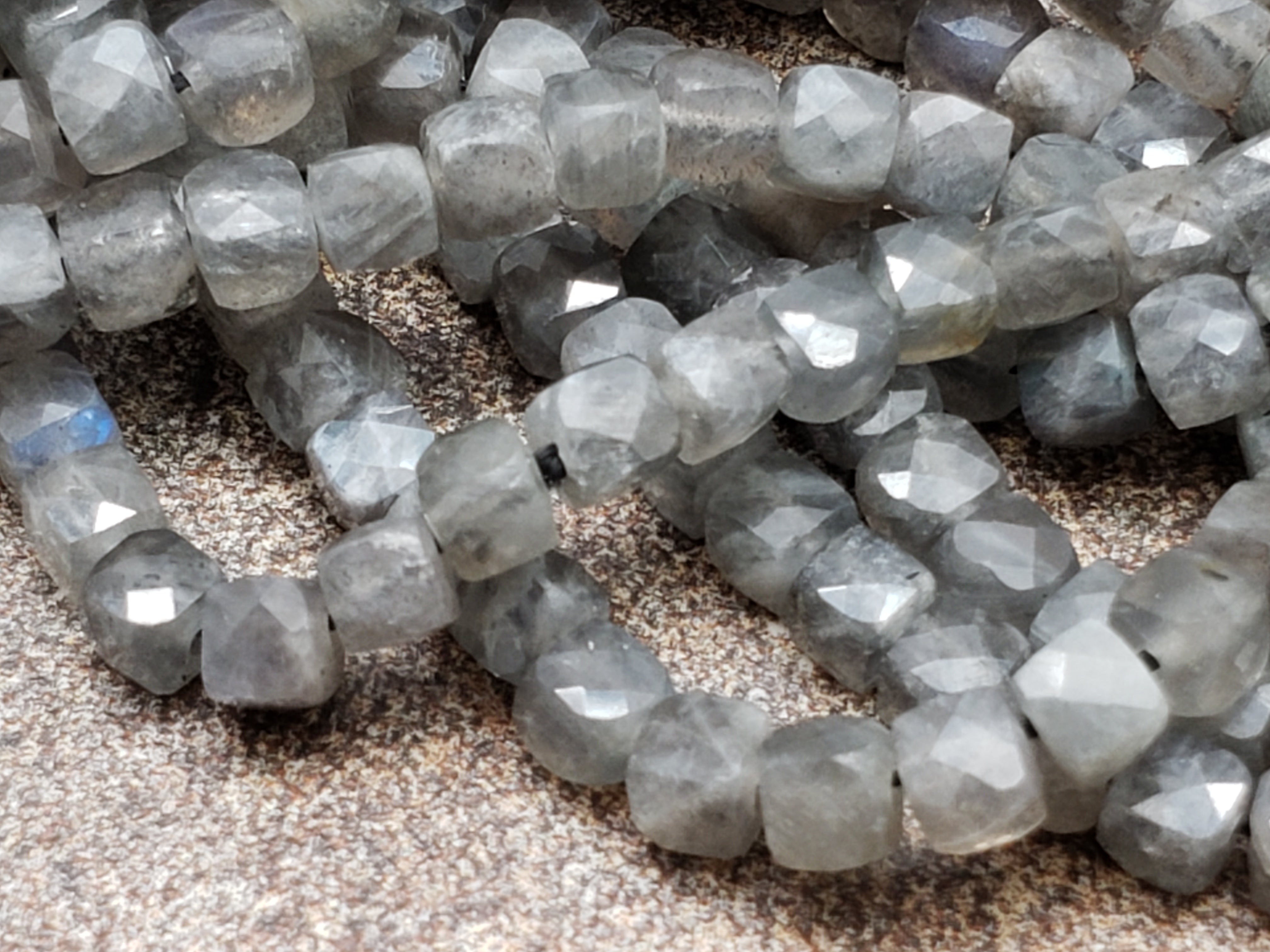 4mm Labradorite 3D Faceted Cubes, 15.5 inch