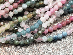 2.5mm Shaded Watermelon Tourmaline Faceted Round Beads, 15.5 inch