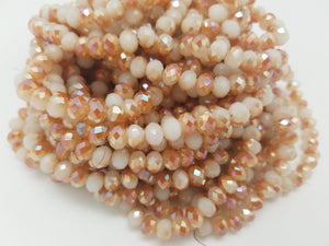 8mm Peach Two-Tone Hydroquartz Faceted Rondelles, 17 inch