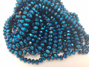 8mm Peacock Blue Hydroquartz Faceted Rondelles, 17 inch