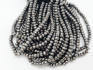 6mm Black Rhodium Pyrite Faceted Rondelles, 8 inch
