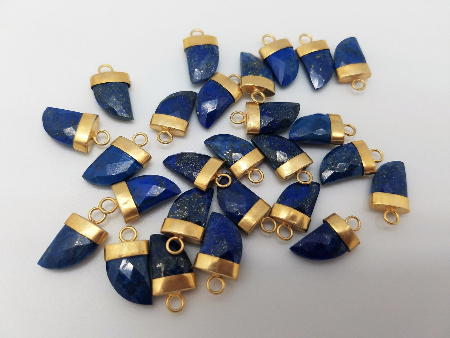 10 x 15mm Lapis Lazuli Horn Pendants w/Matte Gold Finish