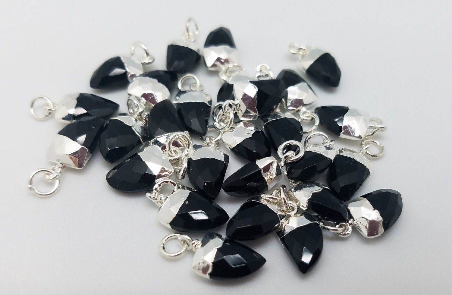 8 x 12mm Black Onyx Horn Pendants w/Silver Plating