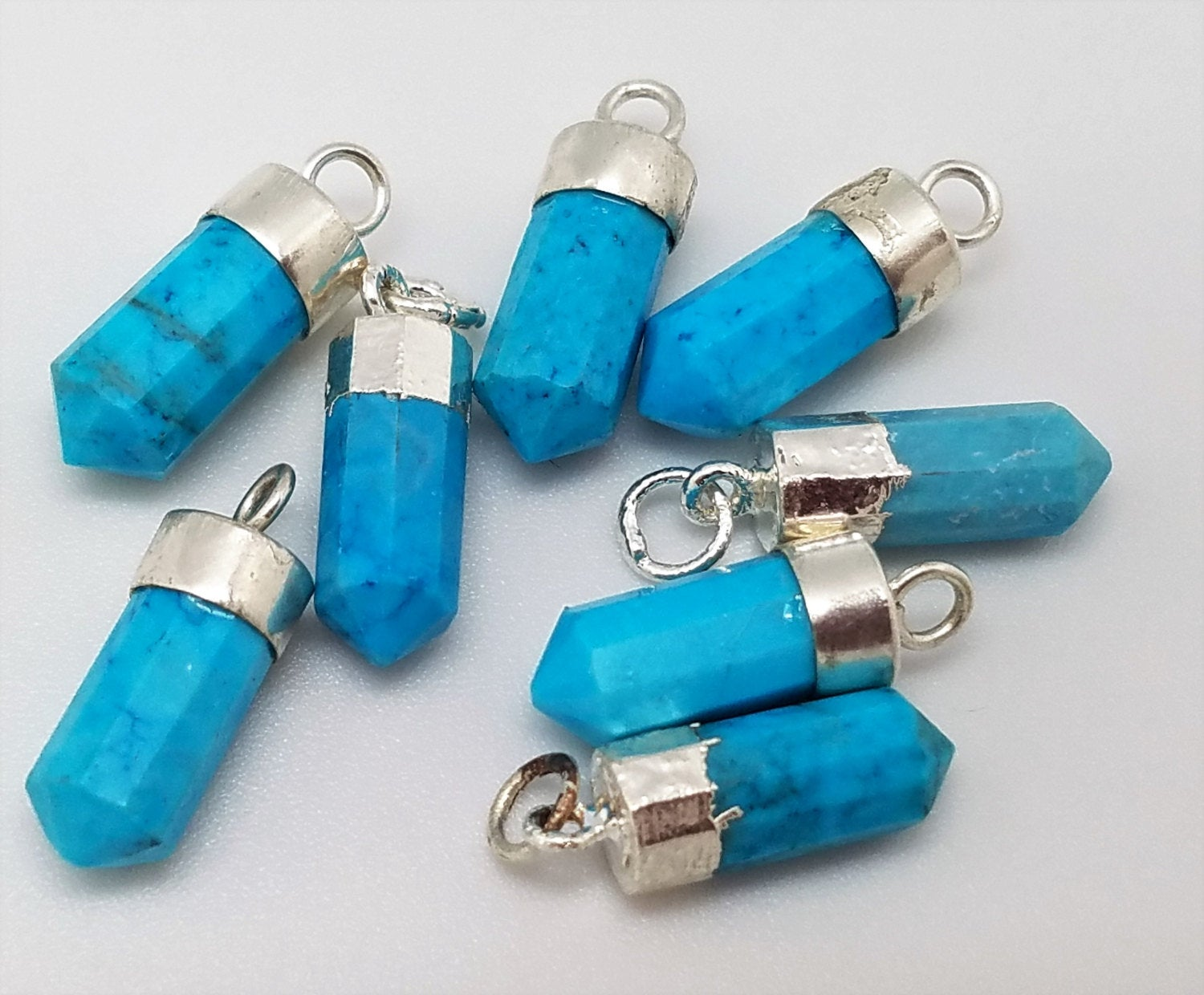 Turquoise Howlite Point Charm Pendants w/Silver Plating, 15mm