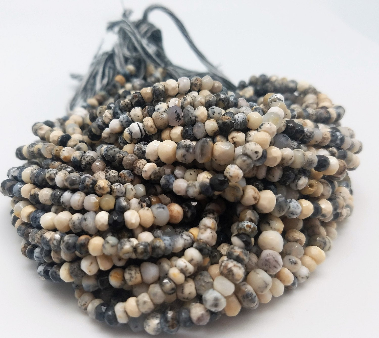 4mm or 4.25 to 4.5mm Dendrite Opal Faceted Rondelle Beads, 13 inch