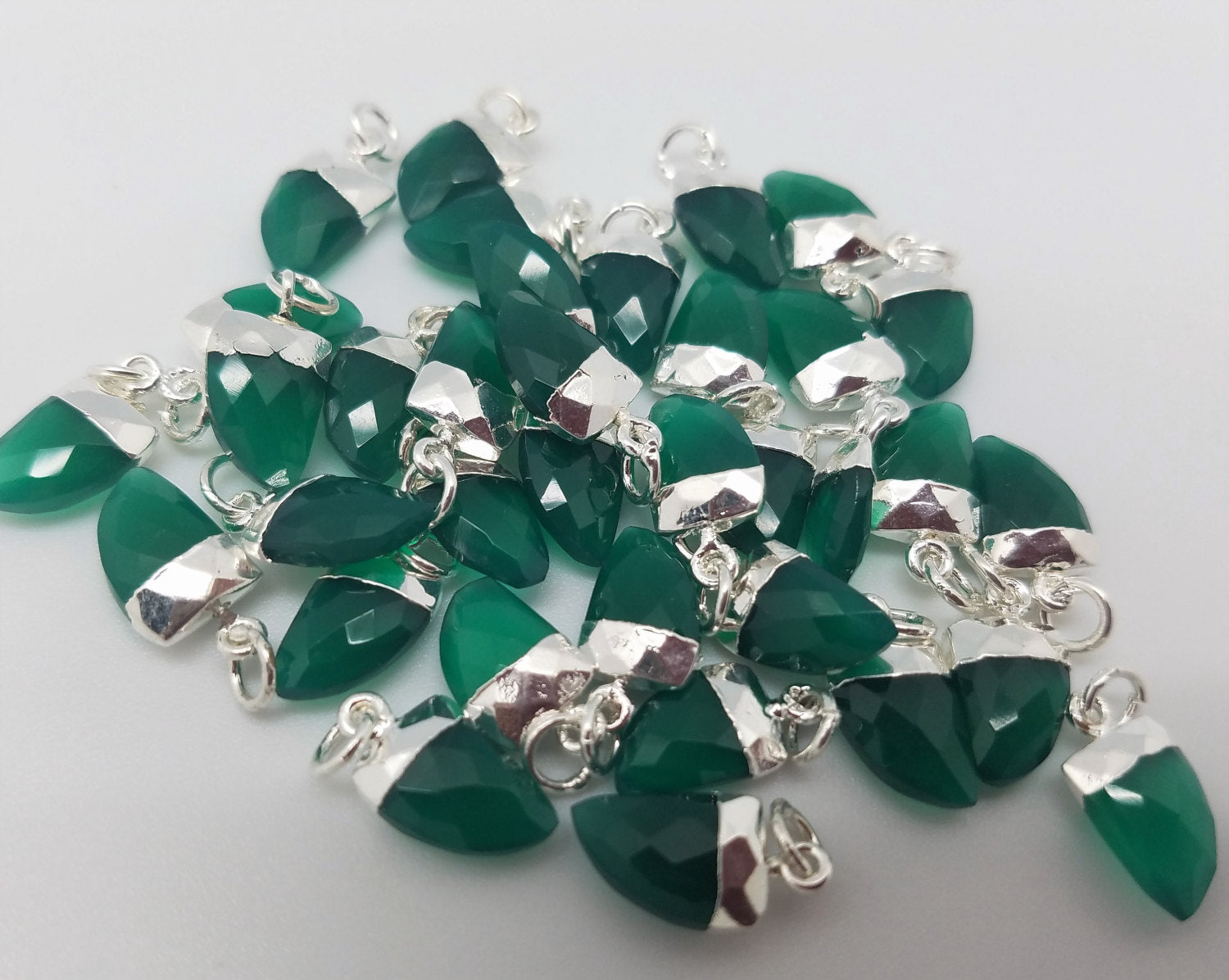 8 x 12mm Green Onyx Horn Pendants w/Silver Plating