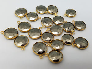 12mm or 16mm Round Pyrite Bezel - Single or Double Connector