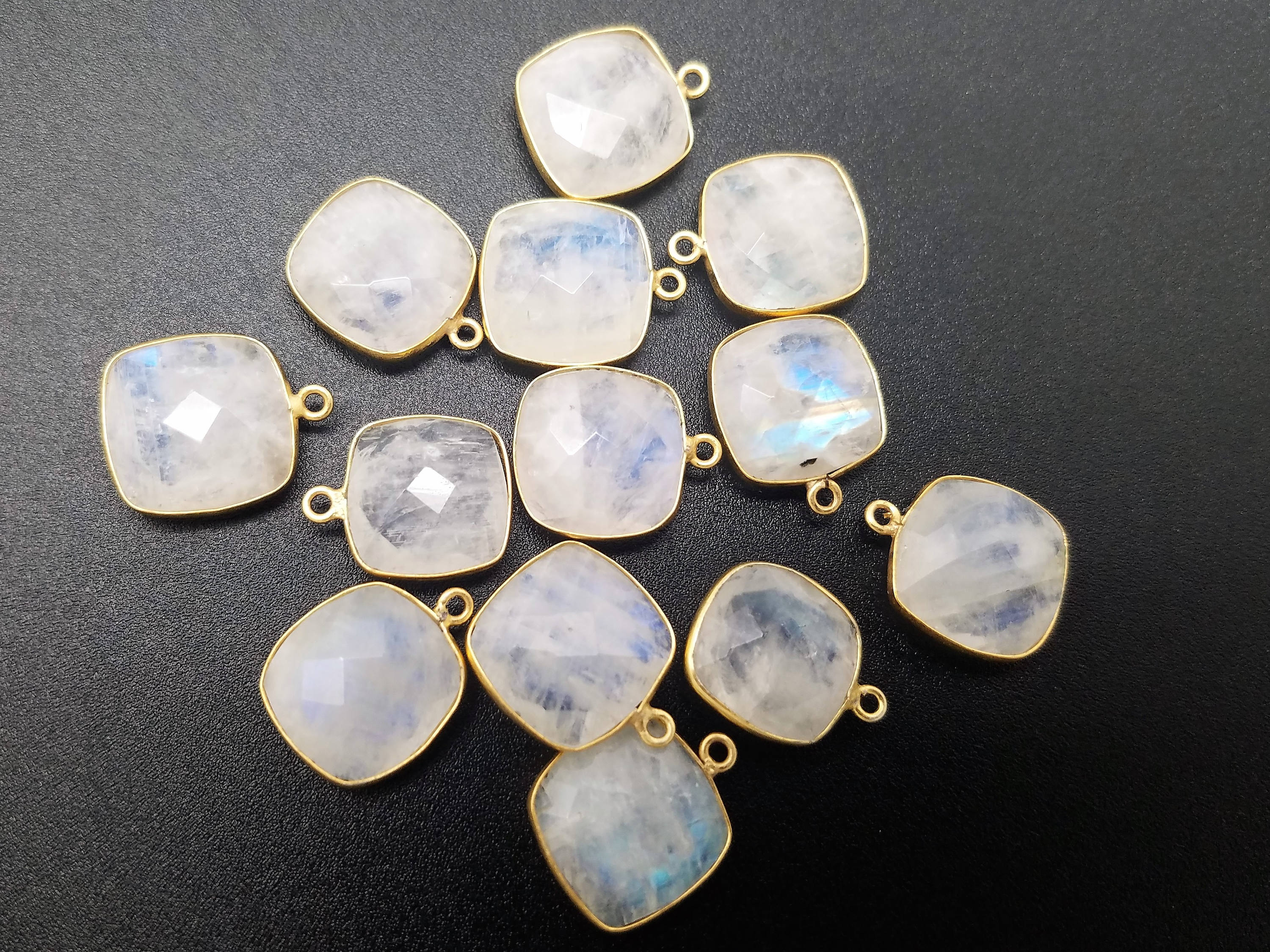 15 x 15mm Moonstone Square Single Loop Bezel w/ Gold Plating
