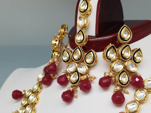Bridal Faux Ruby Red Kundan Polki Necklace w/ Earrings & Tikka
