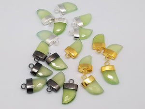 8 x 12mm or 10 x 15mm Prehnite Chalcedony Horn Pendants