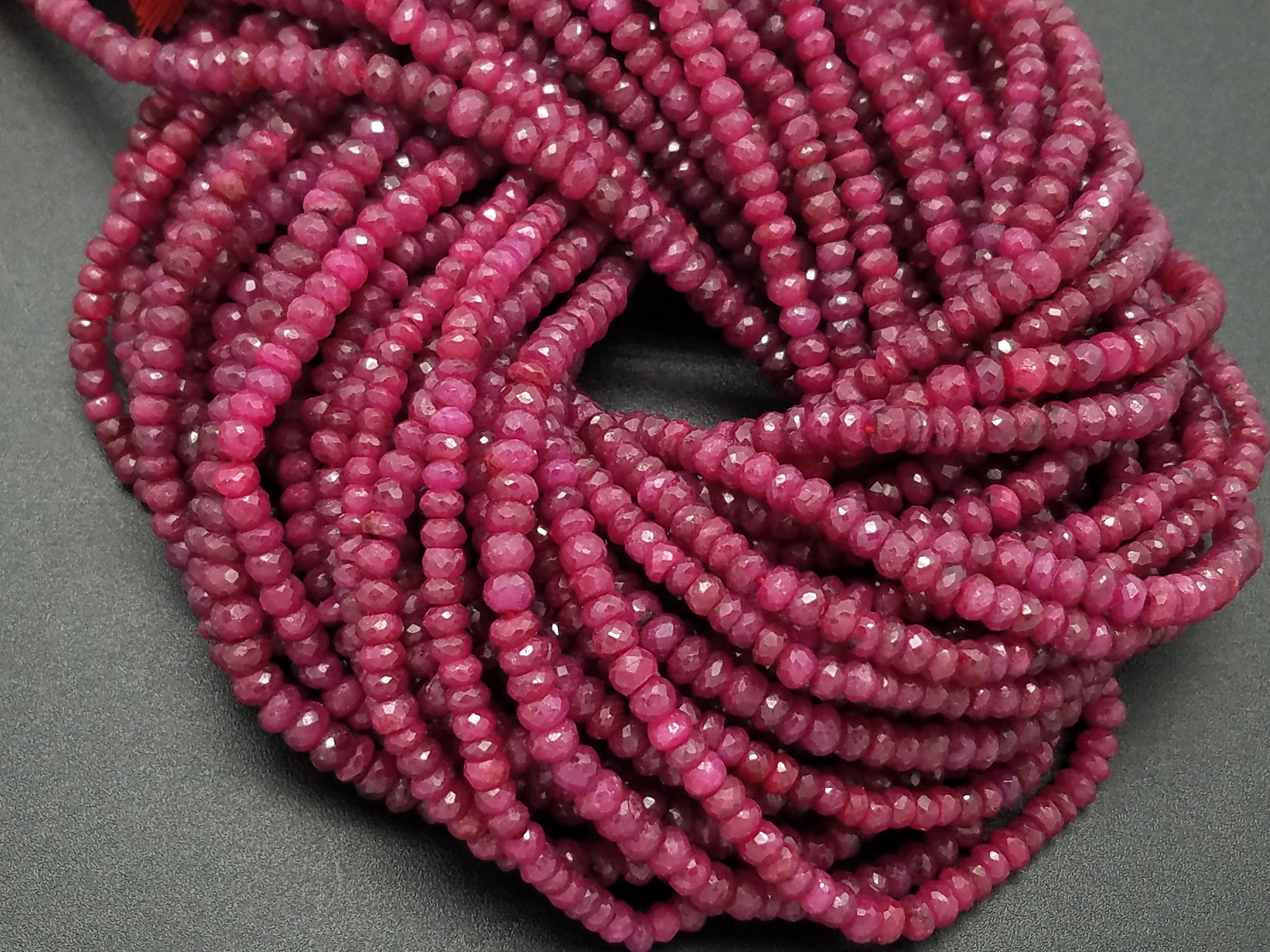 4mm Ruby Faceted Rondelles, 13 inch