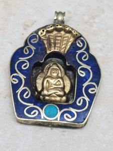 Buddha Brass Pendant with Blue & Gold Enamel