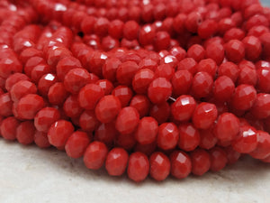 6mm Red Hydroquartz Faceted Rondelles, 17 inch