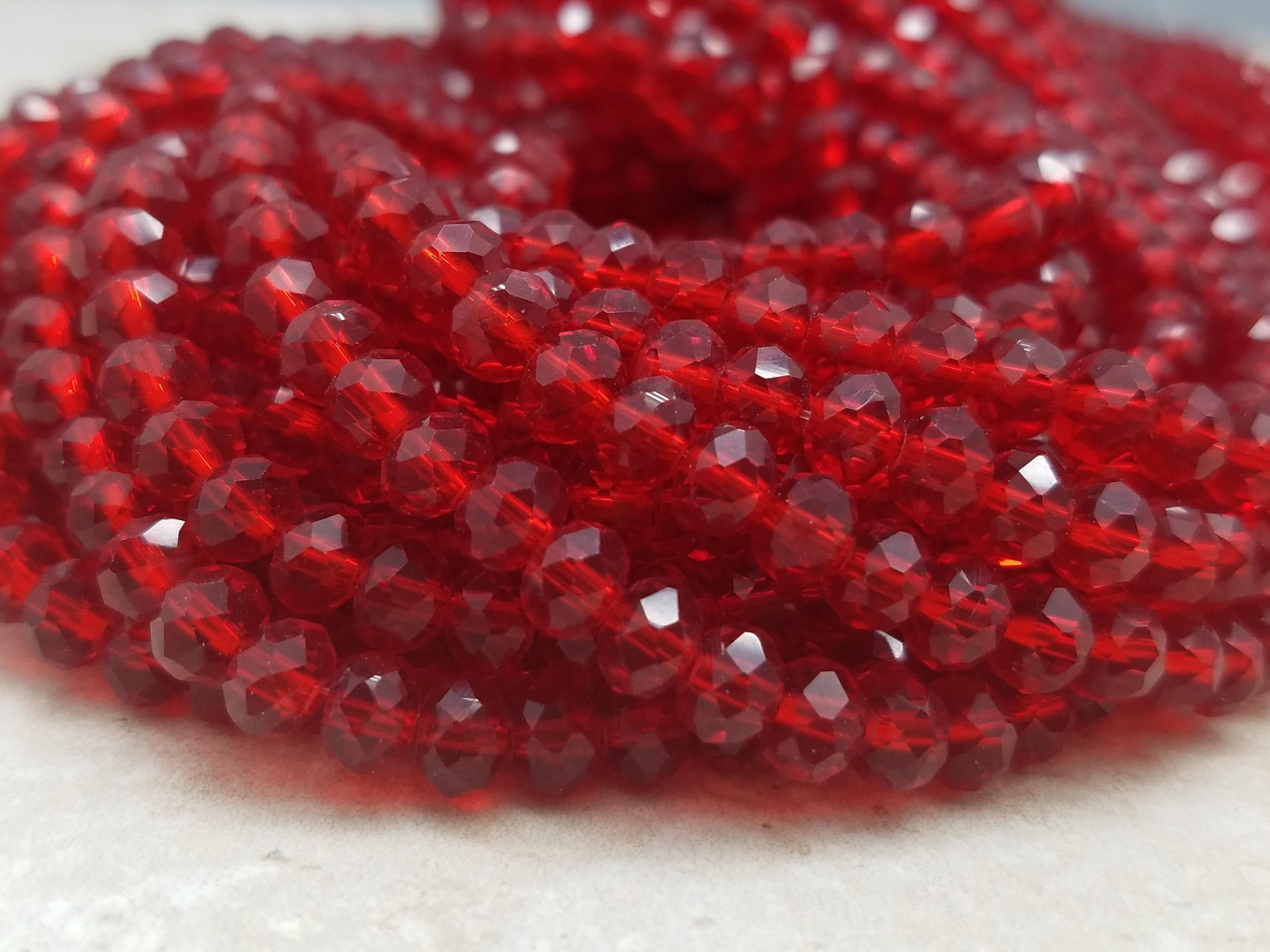 6mm Crystal Red Hydroquartz Faceted Rondelles, 17 inch