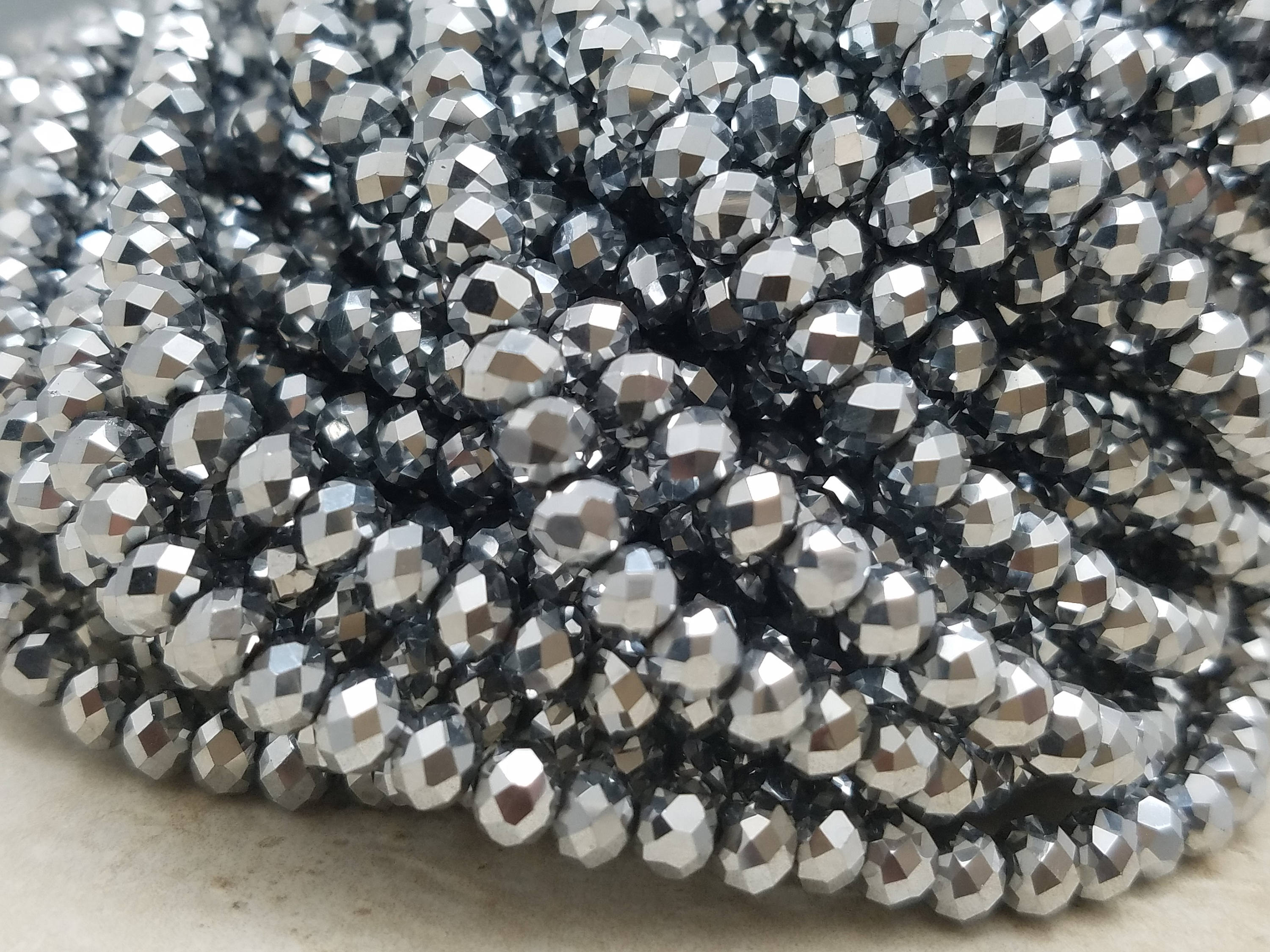 6mm Silver Hydroquartz Faceted Rondelles, 17 inch