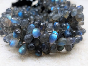 4.5mm by 7mm Labradorite Faceted Tear Drop Briolettes, 7.5 inch