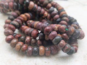 8mm x 5mm Picasso Jasper Faceted Rondelle Beads, 15 inch