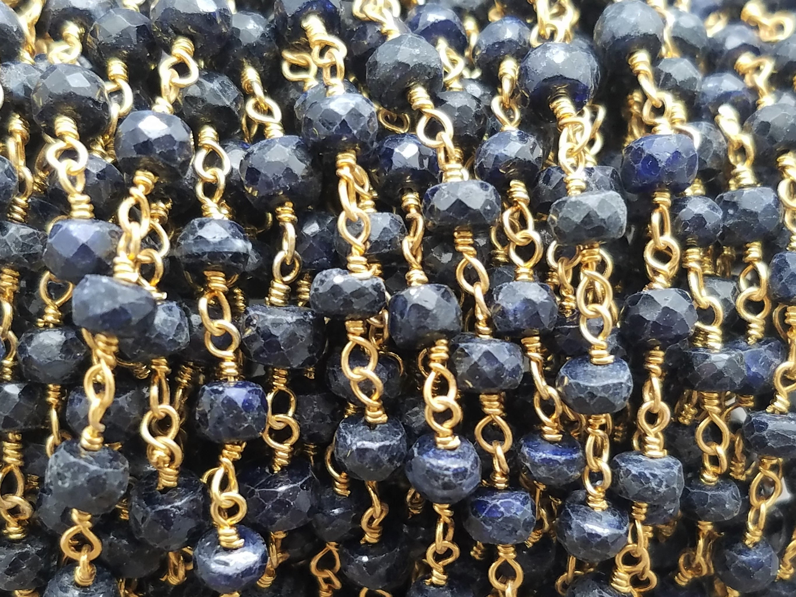 4mm Sapphire Corundum Rosary Chain, Brass w/Gold Plating
