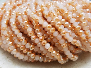 4mm Peach Two-Tone Hydroquartz Faceted Rondelles, 17 inch