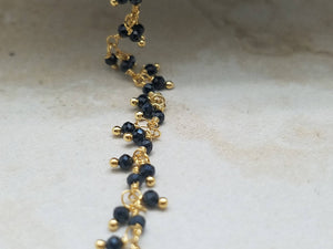 2mm Black Spinel Cluster Rosary Chain, Brass w/Gold Plating