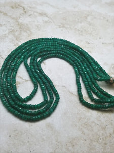 2 or 3 or 4 Strand Emerald Faceted Rondelle Necklace, 3.5mm to 4mm