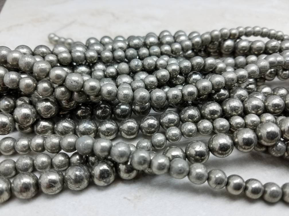 6mm or 8mm Pyrite Polished Round Beads, 15.25 inch