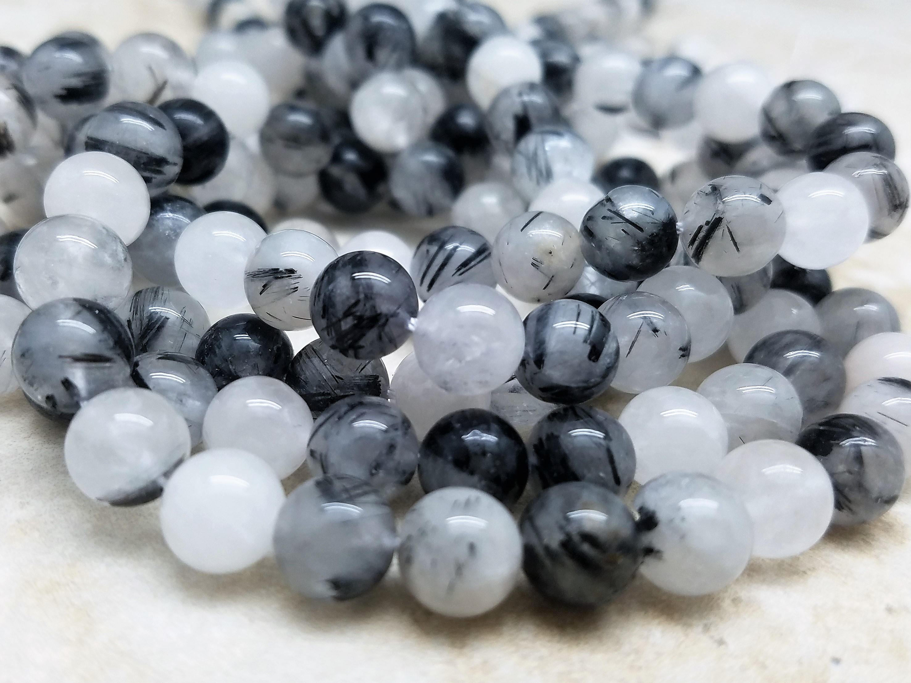 4mm or 6mm or 8mm Black Rutile Quartz Polished Round Beads, 15 inch