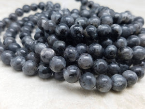 4mm or 6mm or 8mm Larvikite Labradorite Polished Round Beads, 15 inch